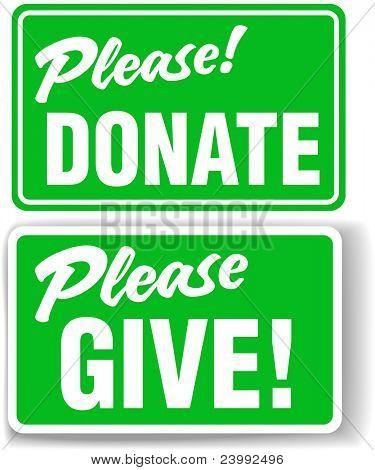 Doneer alstublieft en teken geven groene Store-voorzijde-stijl instellen