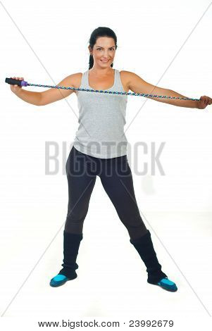 Smiling Woman Holding Jump Rope