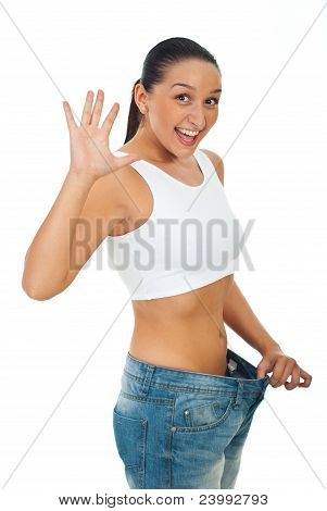 Extremely Happy Slim Woman Showing Progress