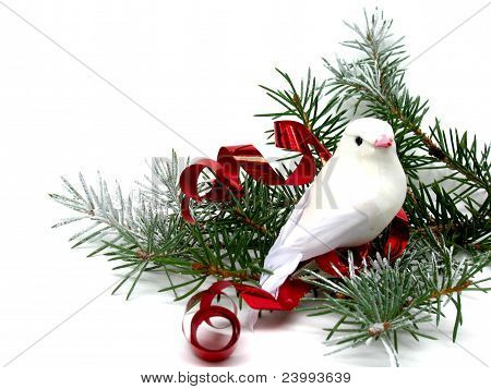 White dove on Christmas tree