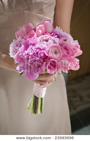 Bridesmaid With Pink Bouquet