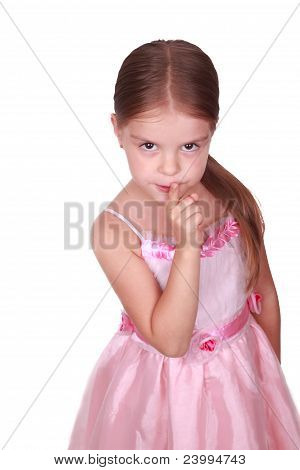 Little lady asking for silence sign