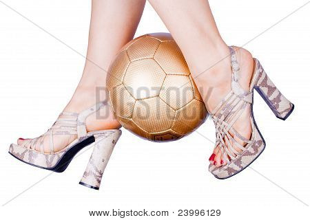 Woman Playing Soccer In High Heels