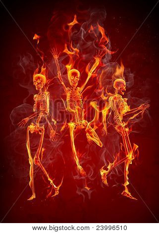 Dancing fire skeletons