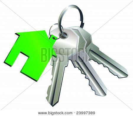 Keys With Label Of  House.eps