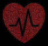 Cardiology Halftone Vector Icon. Illustration Style Is Pixel Iconic Cardiology Symbol On A Black Bac poster