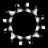 Cogwheel Halftone Vector Icon. Illustration Style Is Pixelated Iconic Cogwheel Symbol On A Black Bac poster