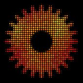 Pixelated Cogwheel Icon. Bright Pictogram In Hot Color Hues On A Black Background. Vector Halftone C poster