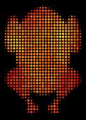 Pixel Fried Chicken Icon. Bright Pictogram In Fire Color Tinges On A Black Background. Vector Halfto poster