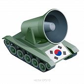 Propaganda Loudspeaker Mounted On The Military Truck. Green Metaphoric Device With Giant Megaphone M poster