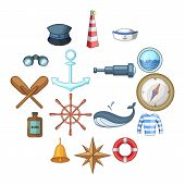 Nautical Icons Set. Cartoon Illustration Of 16 Nautical Vector Icons For Web poster