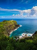 Beautiful Seascape View Of The Kilauea Lighthouse On The North Coast Of Kauai, Hawaii poster