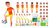 Soccer Player Male Vector. Animated Character Creation Set. Man Full Length, Front, Side, Back View, poster