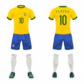 Vector 3d Realistic Uniform Of Brasil Football Player. Yellow T-shirt, Blue Shorts For Playing Socce poster
