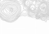 Abstract Black And White Topographic Contours Lines Of Mountains. Topography Map Art Curve Drawing.  poster