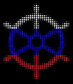 Halftone Boat Steering Wheel Icon Colored In Russian State Flag Colors On A Dark Background. Vector  poster