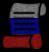 Halftone Script Roll Icon Colored In Russia Official Flag Colors On A Dark Background. Vector Collag poster