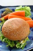 image of veggie burger  - Healthier homemade grilled burger with carrots and plenty vegetables - JPG