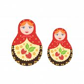 Russian Culture, Landmarks And Symbols. Pair Traditional, Nested Dolls. poster