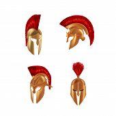 Set Realistic Spartan Ancient Greek, Roman Helmet. Bronze Protective Headgear. poster