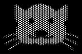 Dot White Kitty Icon On A Black Background. Vector Halftone Collage Of Kitty Symbol Created Of Round poster
