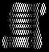 Dotted White Script Roll Icon On A Black Background. Vector Halftone Illustration Of Script Roll Sym poster