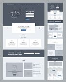 One Page Website Design Template For Business. Landing Page Wireframe. Flat Modern Responsive Design poster