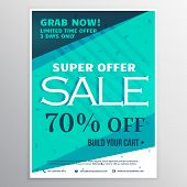 Stylish Blue Super Sale Banner Brochure Flyer Template For Marketing And Promotion poster