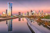 Philadelphia, Pennsylvania, USA downtown city skyline on the Schuylkill River at twilight. poster