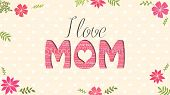 I Love Mom Greeting Card. Word Mom Formed By Word Cloud Of Different Colors On Yellow Background Wit poster