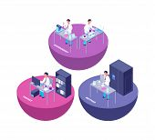Chemistry 3d Isometric Research Lab With Chemical Laboratory Equipment And Creative People Vector Il poster