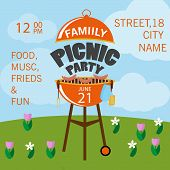 Lovely Vector Barbecue Party Invitation Design Template Set. Trendy Bbq Cookout Poster Design With C poster