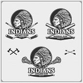 Lacrosse, Baseball And Hockey Badges And Labels. Sport Club Emblems With Indian Chief. Vector. poster