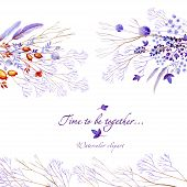 Watercolor Clipart Of Lilac Nature Horizontal Elements. Clipart Consist Of Berries, Flowers, Leaves, poster