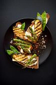 Vegetarian Sandwich. Wholemeal Bread Sandwiches With Feta Cheese, Grilled Zucchini, Green Asparagus, poster