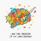 I Am The Creator Of My Own Destiny, Life Motivation Quote With Colorful Splash Over Human Brain. Coa poster