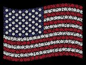 Smile Icons Are Arranged Into Waving Usa Flag Stylization On A Dark Background. Vector Composition O poster