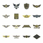 Airforce Navy Military Logo Icons Set. Flat Illustration Of 16 Airforce Navy Military Logo Vector Ic poster