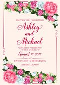 Rose Flower Frame Of Wedding Invitation Banner Template. Marriage Celebration Invite Card Design Wit poster