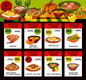Mexican Cuisine Traditional Food Menu Price Cards. Vector Lunch Offer Design For Seafood, Pumpkin Sp poster