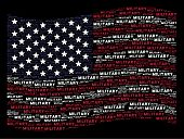 Military Text Items Are Grouped Into Waving Usa Flag Stylization On A Dark Background. Vector Concep poster