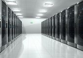 foto of mainframe  - Modern interior of server room in datacenter - JPG