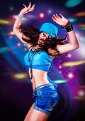 foto of rap-girl  - girl dancing in discolight - JPG