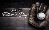 Vintage Baseball Gear On A Wooden Background With Fathers Day Greeting poster