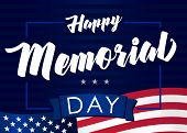 Memorial Day Usa 28 May And Flag On Navy Blue Stripes Background. Happy Memorial Day,  Remember & Ho poster