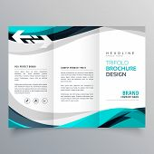 Trifold Brochure Design With Beautiful Blue And Gray Wave poster