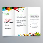 Colorful Ink Splatter Trifold Brochure Vector Design poster