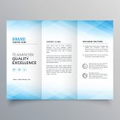 Elegant Blue Trifold Brochure Flyer Design Template poster