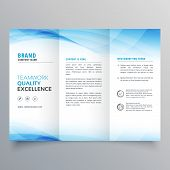 Elegant Blue Business Trifold Brochure Design Flyer Template poster