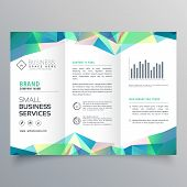 Business Trifold Brochure Design With Abstract Shapes poster